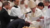 Pope Francis baptises Nigerian former beggar John Ogah at St Peter's Basilica