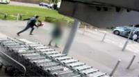 Man running to his car.