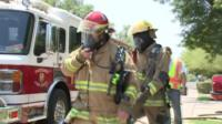 Firefighters in extreme heat.