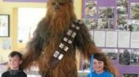 Chewbacca visits school