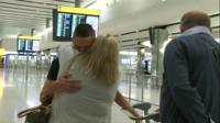 Jac Holmes greets his parents