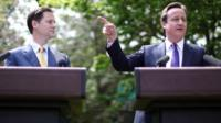 File photo dated 12/05/10 of Prime Minister David Cameron (right) with Deputy Prime Minister Nick Clegg