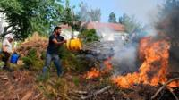 Locals use buckets trying to extinguish a wildfire in Atalaia Fundeira near Cernache do Bonjardin on 19 June 2017