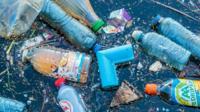 Rubbish in a river