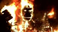 King Kong model on fire