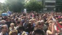 Poles protest outside parliament in Warsaw, 16 July