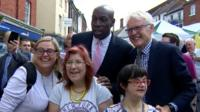 Frank Bruno and Norman Lamb in North Walsham