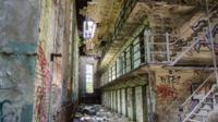 An abandoned building.
