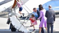 The Cambridges board a plane in Germany
