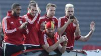 Wales team in Cardiff