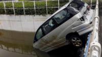 Wrecked car in Macau