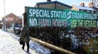 A 'no hard border' sign in Belfast