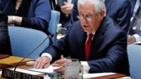 Rex Tillerson speaking at UN Security Council