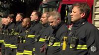 Fire crews in silent tribute to Grenfell fire victims