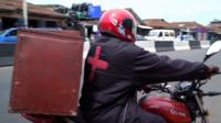 Man on motorbike delivering blood in Lagos