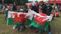 Wales supporters at the fanzone in Cardiff