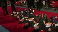 Protesters on the red carpet