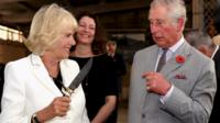 Prince Charles and the Duchess of Cornwall on a visit to Seppeltsfield Winery in Australia