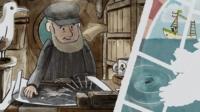 Cartoon of fisherman listening to shipping forecast