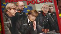 Cover of a magazine in Poland showing Angela Merkel and others