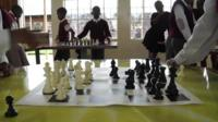 Classroom and chess set