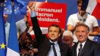 Emmanuel Macron (L), head of the political movement En Marche! (Onwards!) and candidate for the 2017 presidential election, and Francois Bayrou, French centrist politician and the leader of the Democratic Movement (MoDem)