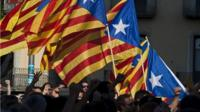 Protesters carry Catalan flags
