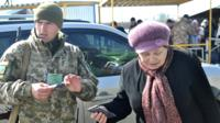 Ukrainian checkpoint where people cross into the self-styled Donetsk people's republic
