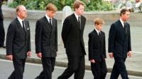 Royals walking in Princess Diana funeral procession