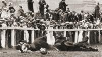 Suffragettes remember Emily Davison, knocked down by the King's horse at Epsom.