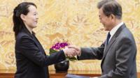 South Korean President Moon Jae-in and North Korean leader Kim Jong-un's sister Kim Yo-jong
