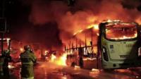 Buses on fire
