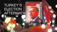 Illustration of Turkish crowd carrying Erdogan banner