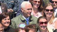 Mike Pence on board the USS Ronald Reagan