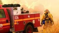 Los Angeles County fire fighters in Santa Clarita, California