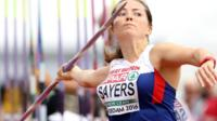 Great Britain's Goldie Sayers competes in the Women's Javelin qualifying during day two of the 2016 European Athletic Championships at the Olympic Stadium, Amsterdam. 7 July 2016.