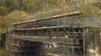 Iron Bridge covered in scaffolding