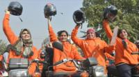 Members of Women on Wheels, or Wow, in Punjab, Pakistan.
