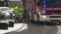 Fire crews struggle in the icy conditions in Shrewsbury