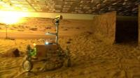 Mars rover on simulated Mars surface