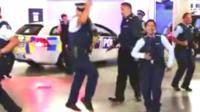 New Zealand police officers dancing