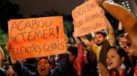 "Demonstrators protest against Brazil""s President Michel Temer in Sao Paulo, Brazil, 17 May 2017."