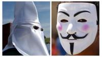 Composite image of KKK member and man in mask representing Anonymous hackers group