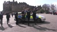 Police in Scotland dancing