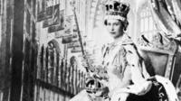 Queen Elizabeth II poses with the royal sceptre on 2 June 1953 after being crowned