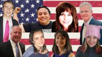 Photos of voter panel superimposed over American flag