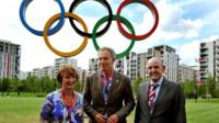 Tessa Jowell, Tony Blair and Sir Charles Allen, the mayor of the Olympic Athletes village, in 2012