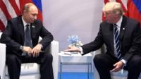 US President Donald Trump (R) and Russian President Vladimir Putin in Hamburg, 7 Jul 17