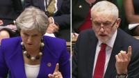 Theresa May and Jeremy Cobyn at PMQs