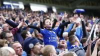 Leicester fan celebrating